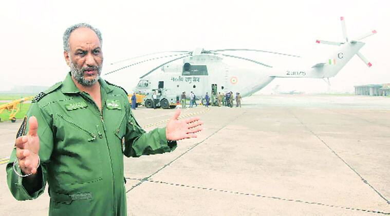 Wing Commander G S Tung, at Chandigarh Airport on Wednesday. (Source: Express photo by Jasbir Malhi)