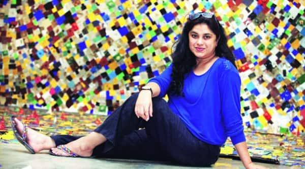 Hema Upadhyay with her installation based on Mumbai,  titled Modernisation