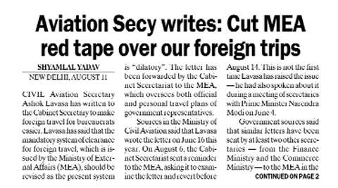 The Indian Express had reported the contents of Lavasa's letter on August 12.