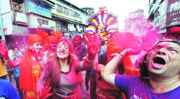 Festivities during the Ganesh Visarjan procession in the city. (Source: IE photo by Pavan Khengre)