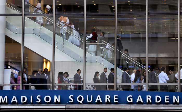Visitors to Madison Square Garden make their way through the building to see Indian Prime Minister Narendra Modi speak on Sunday, Sept. 28, 2014, in New York. (Source: PTI)