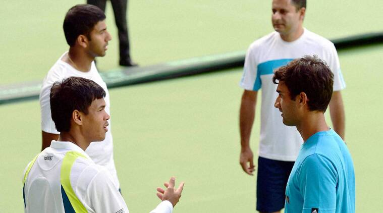 Indian players during a training session ahead of the Davis Cup tie against Serbia (Source: PTI)