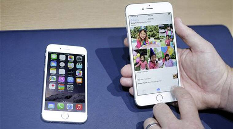 The iPhone 6, at left, and iPhone 6 plus are shown next to each other during a new product release in Cupertino, Calif. (Source: AP photo)