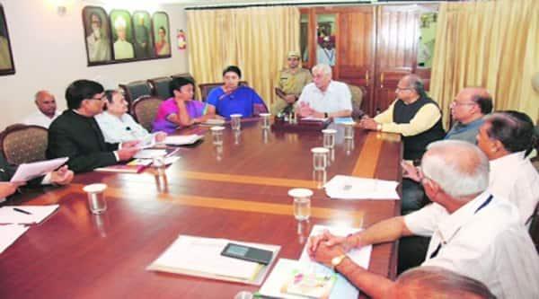 Smriti Irani with vice-chancellors of various universities at a meeting in Gandhinagar on Friday. (Source: Express Photo)