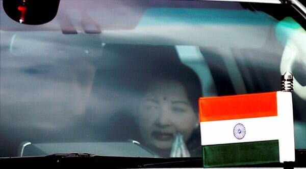 Tamil Nadu Chief Minister J Jayalalitha leaving her Poes Garden residence to appear before a Bangalore Special Court. (Source: PTI)