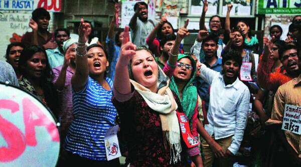Student parties gathered outside the polling venue at JNU for last-minute campaigning.