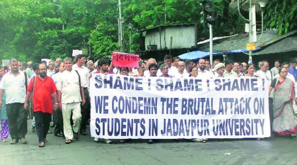 A protest rally in South Kolkata on Sunday. (Source: Express)
