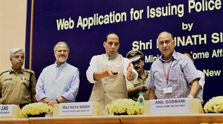 Union Home Minister Rajnath Singh, Lieutenant Governor of Delhi Najeeb Jung, Union Home secretary Anil Goswami and Delhi Police Commissioner B S Bassi at the launch of Delhi Police web application for issuing Police Clearance Certificate, in New Delhi on Friday.