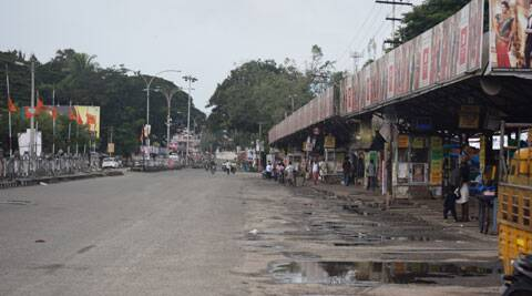 Deserted East Fort Bus Stand, during hartal called by Sangh Parivar in Kerala. (Express photo by Shaju Philip)