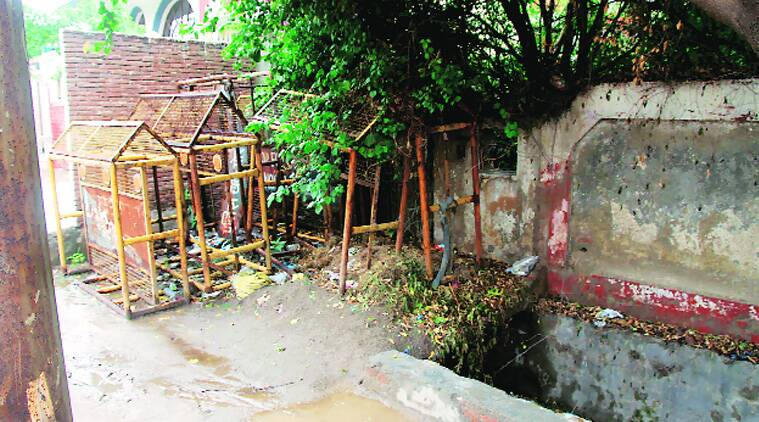 Drain outside Pandher's house in Nithari where the remains were found.