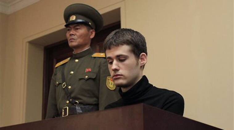 Matthew Miller, a U.S. citizen, sits on the dock at the Supreme Court during his trial in Pyongyang, North Korea, Sunday, Sept. 14, 2014. (Source: AP)