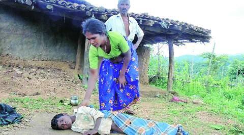 Santhu Birjia, one of the children suspected to be suffering from malaria. Source: Express