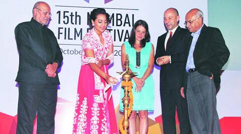 Sonakshi Sinha lights the diya at the opening ceremony  of the 15th Mumbai Film Festival (MAMI)