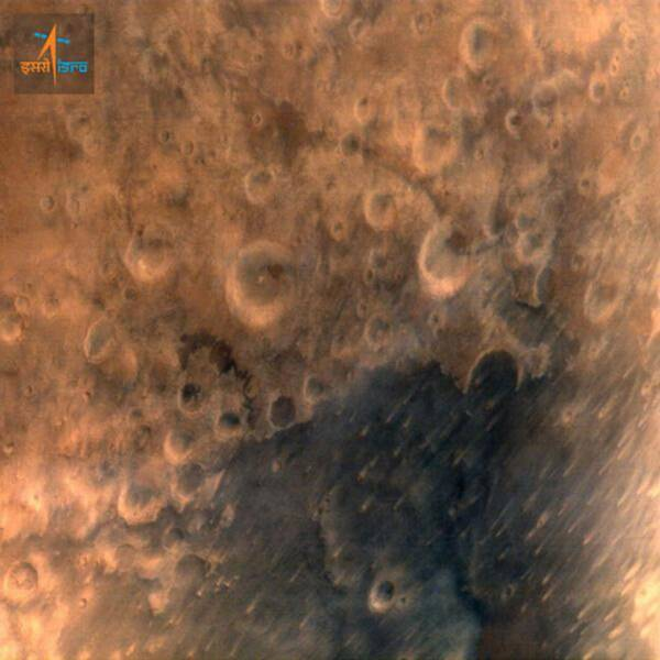The first image sent from Mars Orbiter. (Source: ISRO)
