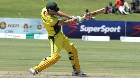 Australia's Mitchell Marsh plays a shot against South Africa on Tuesday in Harare. (Source: AP)