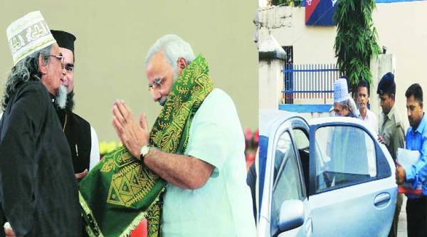 Mehdi Hasan with Modi in 2011; being arrested in his village Rustampura in Kheda Tuesday. ( Source: Express photo )
