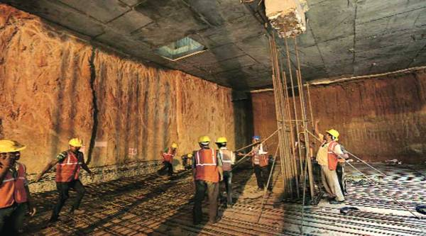 Work going on at the new Hauz Khas Metro station. The station will have five levels. ( Source: Express photo by Ravi Kanojia )