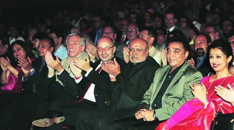 Former sponsors of Mumbai Film Festival Tina and Anil Ambani on the front row of its opening ceremony in 2013; also seen Costa-Gavras, Shyam Benegal, Kamal Haasan and Gouthami.