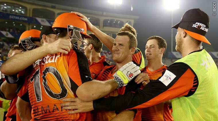 Mitchell Marsh celebrates with the team after pulling off a sensational win (Source: BCCI)