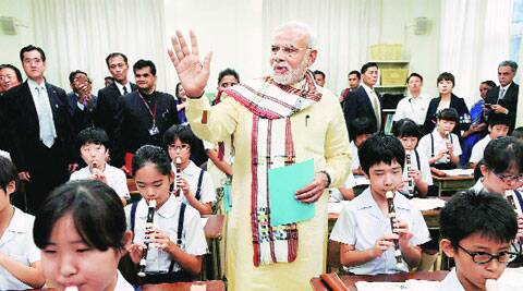 Modi at Taimei elementary school in Tokyo on Monday. ( Source: PTI )