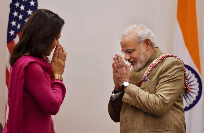 "Gabbard was also present at the Madison Square reception hosted by Indian-Americans for Modi. ""It was great to hear his message of peace and friendship at his address to an energised crowd at New York's renowned Madison Square Garden,"" she said after Modi's address to NRIs.  (Source: PTI)"