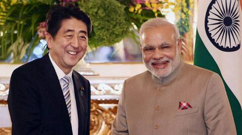 Prime Minister Narendra Modi with his Japanese counterpart Shinzo Abe before a delegation level meeting in Tokyo on Monday. (Source: PTI Photo)