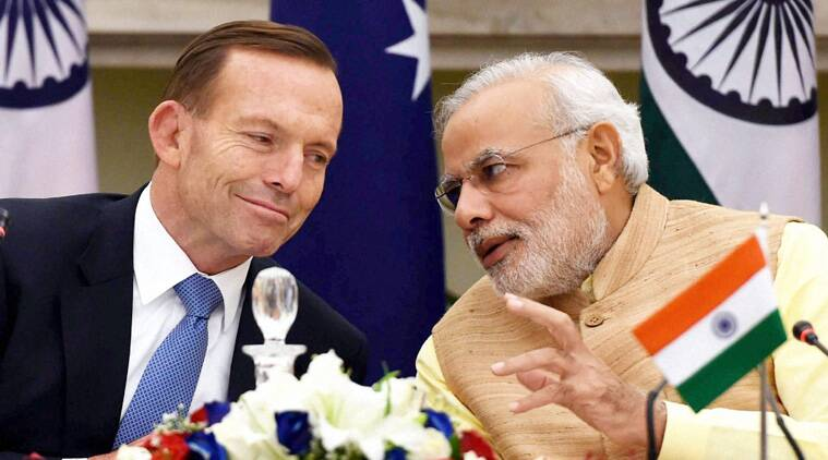 Prime Minister Narendra Modi with his Australian Counterpart Tony Abbott, during their meeting in New Delhi on Friday. (Source: PTI Photo)