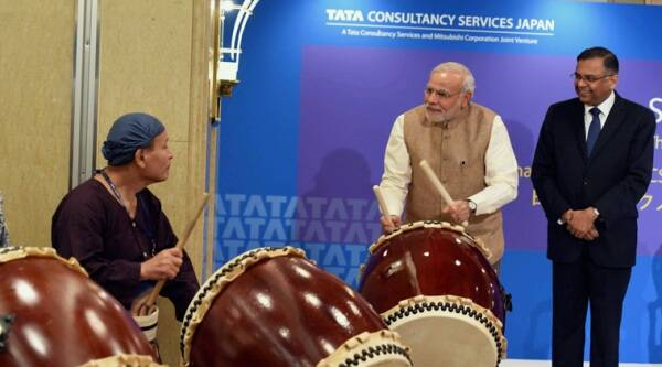 "Narendra Modi is particularly adept at the drums because, for several years, he had led the RSS annual parade march as the ""ghoshna boy (announcer)"". (Source: AP photos)"