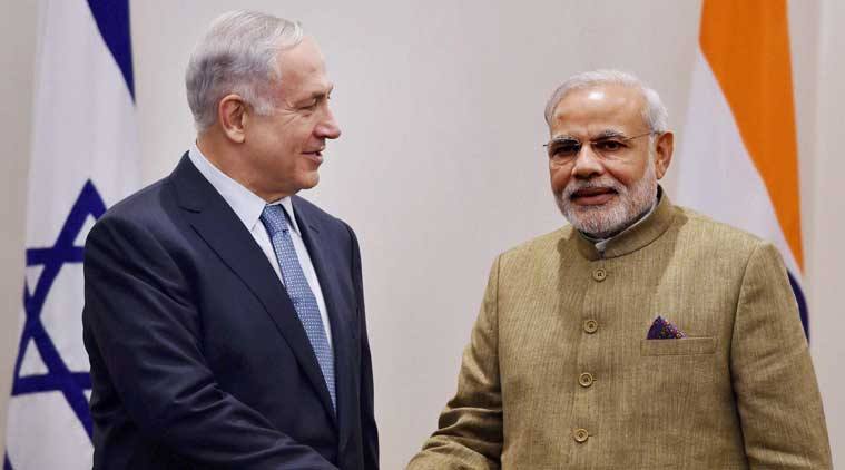 Prime Minister Narendra Modi greets Israel's Prime Minister Benjamin Netanyahu at a meeting in New York. (Source: AP)