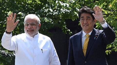 Prime Minister Narendra Modi with his Japanese counterpart Shinzo Abe after visiting Toji Temple in Kyoto on Sunday. (PTI Photo)