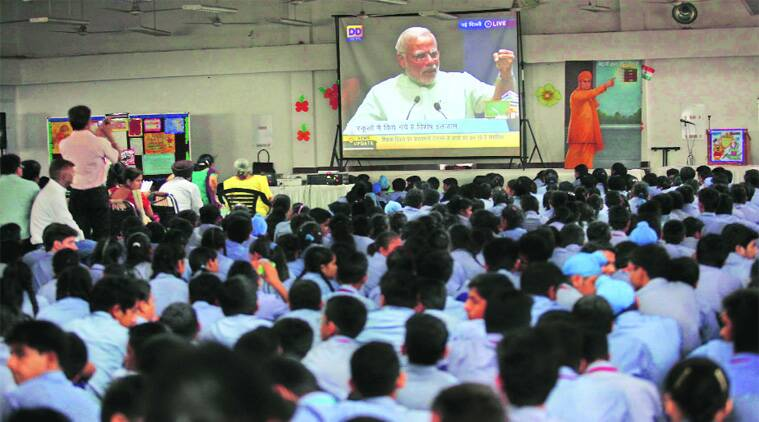 For Modi speech, kids sit glued to TV | Cities News, The ...