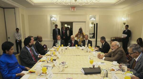 Narendra Modi (2nd R) attends a breakfast meeting with CEOs in Manhattan, New York. (Reuters)