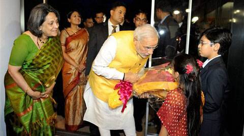 Modi at the inauguration of the Vivekananda Cultural Centre at the Indian embassy in Tokyo, Tuesday. (Source: PTI)