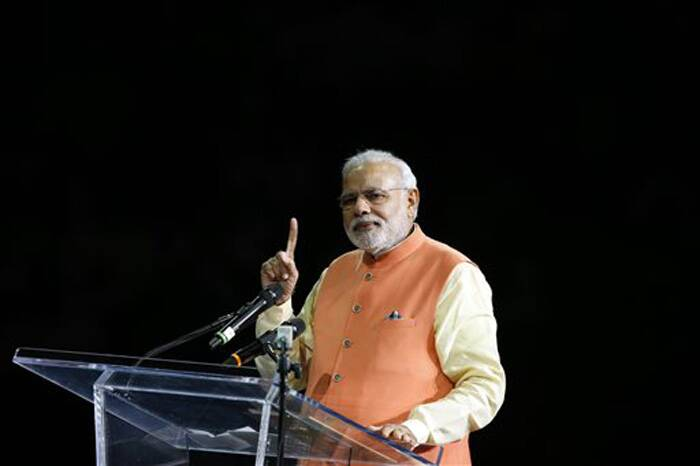 Prime Minister Narendra Modi gives a speech during a reception by the Indian community in honor of his visit to the United States at Madison Square Garden. (Source: PTI)