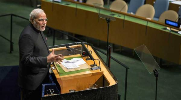 Prime Minister Narendra Modi addresses the 69th session of the United Nations General Assembly at UN headquarters in New York on Saturday. (Source: PTI)