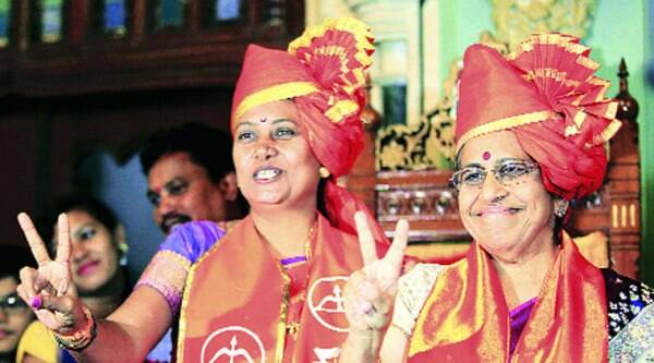 Snehal Ambekar (left) and Alka Kelkar at the BMC headquarters on Tuesday. (Ganesh Shirsekar)