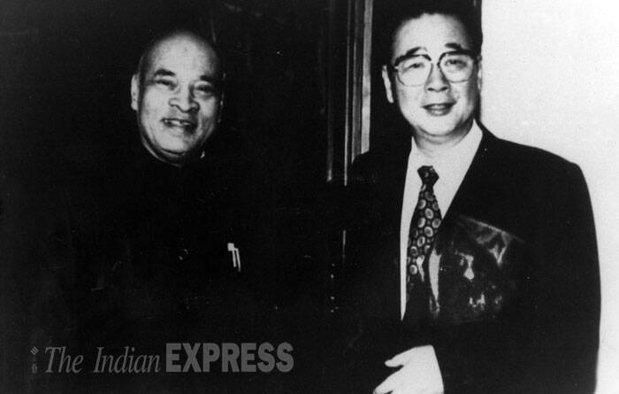 India's then prime minister PV Narasimha Rao had a meeting with the Prime Minister of the peoples Republic of Chine Li Peng at the state guest house in Beijing on 06.09.1993. (Source: Radio photo)