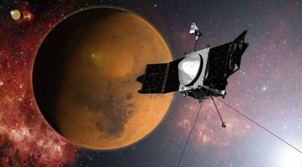In this artist concept provided by NASA, the MAVEN spacecraft arrived Mars on a mission to study its upper atmosphere.