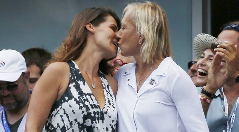 Navratilova popped the question to Julia Lemigova in the Tennis Channel suite, drawing a loud cheer from the crowd. (Source: Reuters)