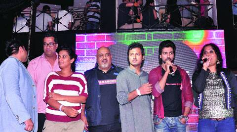 Actor Nikhil Dwivedi with the other members from the film's crew at the launch
