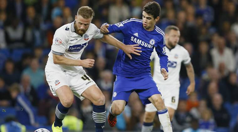 Oscar secured Chelsea's victory in the second half after 19-year-old Kurt Zouma's debut goal was canceled out by Bolton defender Matt Mills. (Source: AP)