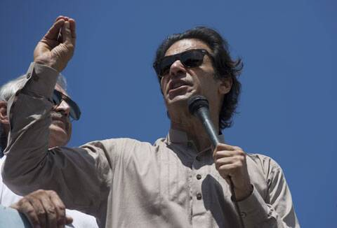 Imran Khan addresses his supporters in Islamabad. (Source: AP)