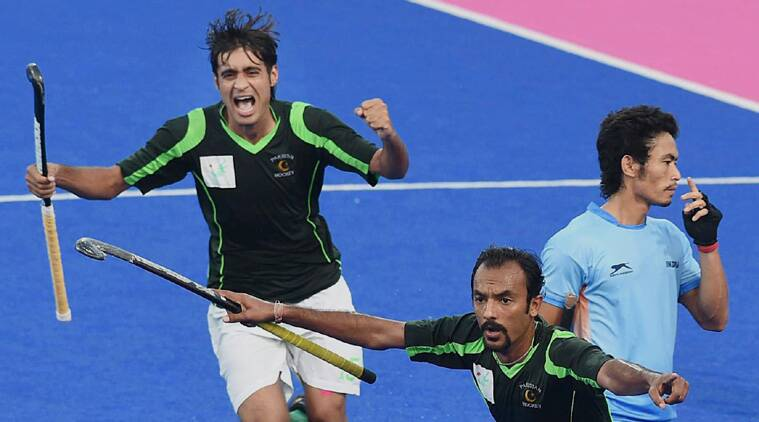 Pakistani players celebrate a goal against India during their Pool B hockey match at 17th Asian Games in Incheon (Source: PTI)