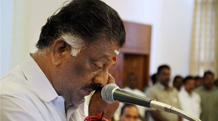 AIADMK leader O Panneerselvam gets emotional while taking oath as Tamil Nadu Chief Minister in absence of jailed party chief J Jayalalithaa at Raj Bhavan, Chennai on Monday.