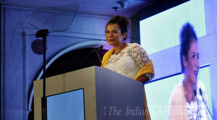 Journalist Mariane Pearl delivers the first Ramnath Goenka memorial lecture at the Ramnath Goenka Excellence in Journalism Awards (Source: Express photo by Neeraj Priyadarshi)