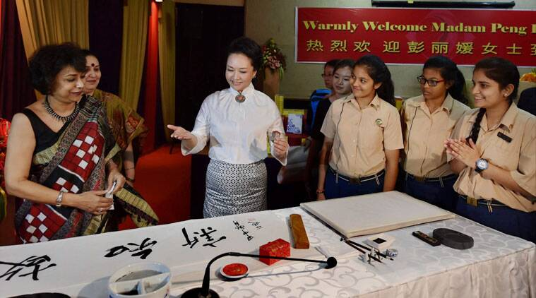China's first lady Peng Liyuan during a visit to the Tagore International School in New Delhi on Thursday. (Source: PTI)
