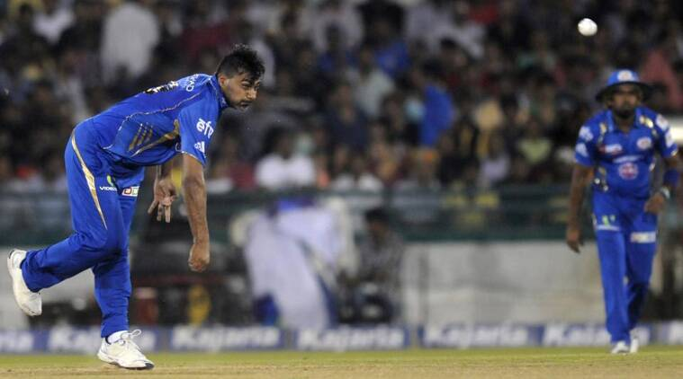 sustaining an injury to his right shoulder during Mumbai Indians' opening qualifying game against Lahore Lions, last Saturday. (Source: BCCI)