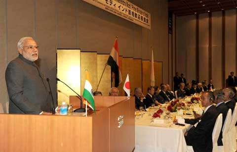 PM Modi delivering the keynote address at the Business luncheon in Tokyo, Japan. (Source: MIB)