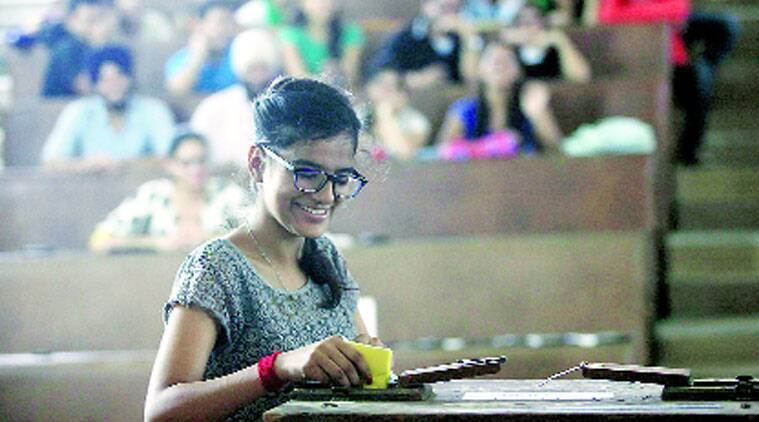 During voting at Panjab University. (Source: Express photo by Kamleshwar Singh)