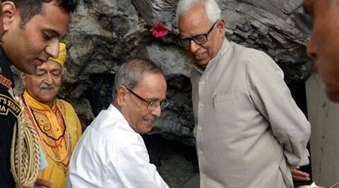 President Pranab Mukherjee during a visit to Mata Vaishno Devi shrine on Tuesday. J & K Governor NN Vohra is also seen. (PTI Photo)